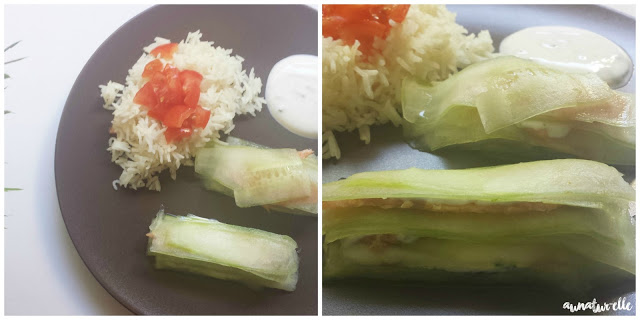 repas healthy concombre, saumon et riz
