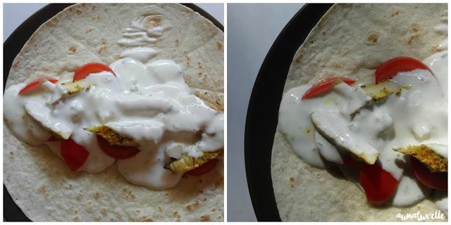 repas healthy wrap au poulet et tomate