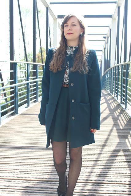 manteau femme bleu canard