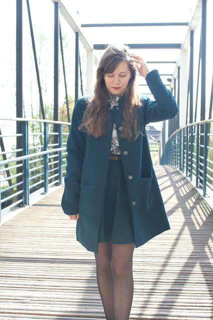 manteau bleu canard camaieu