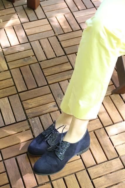 derbies bleu marine à paillette, la modeuse