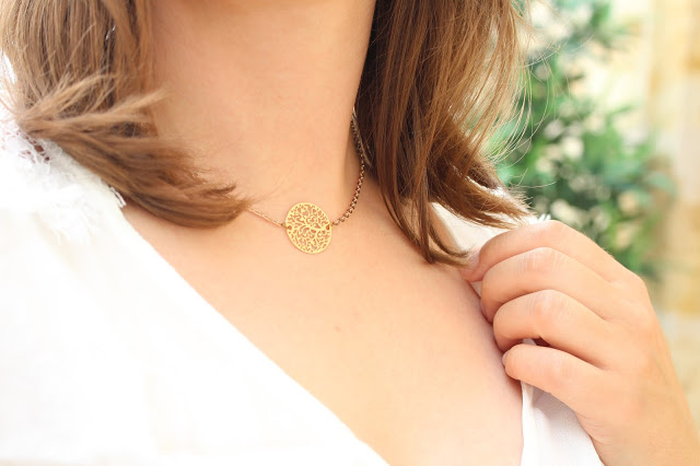 collier rosace rose gold aunatur-elle création