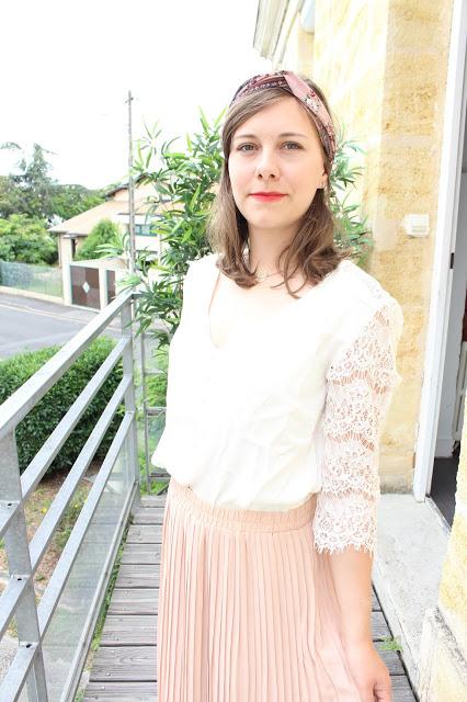 jupe longue plissée rose pâle