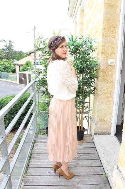 jupe longue rose camaïeu