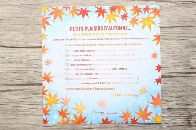 Petits plaisirs d'automne ... découverte de la Biotyfull box du mois d'octobre !