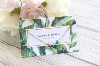 "collier argenté ""green ring"""