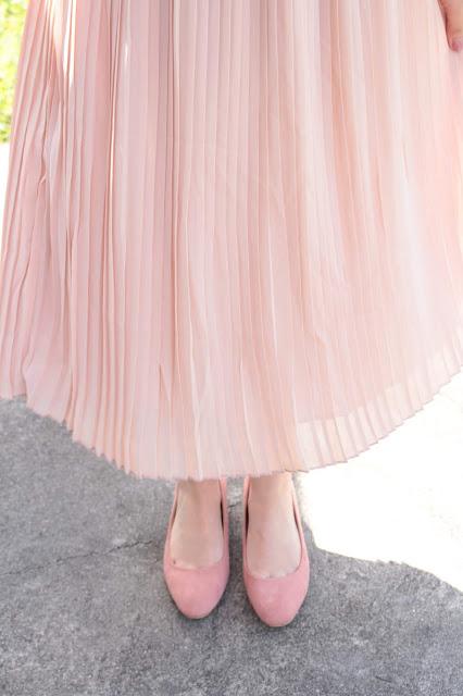 jupe plissée rose longue camaieu