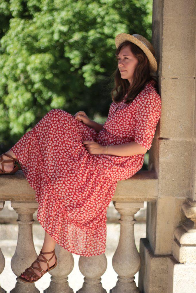 Robe longue rouge à motif doré, Mode in Elo - Aunatur-elle, blogueuse bordelaise