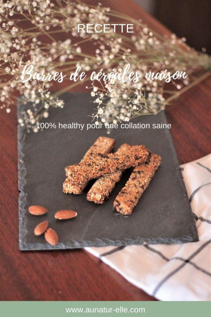 Recette de barres de céréales maison 100% healthy pour une collation saine. Aunatur-elle le blog.